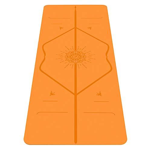 Liforme Happiness Yogamatte - Umweltfreundlich & rutschfest - Originales Einzigartiges Ausrichtungsmarkierungssystem - Biologisch abbaubare Matte aus Naturkautschuk - Sonderausgabe Orange Glück