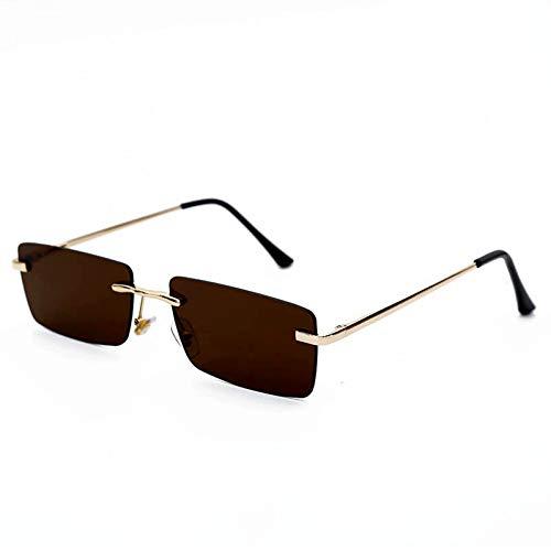 YIERJIU Sonnenbrillen Marke Mode Randlose Sonnenbrille Frauen Personlity Vintage Instagram Rot Schwarz Rechteckige Sonnenbrille Uv400 Damen Brillen,Brown
