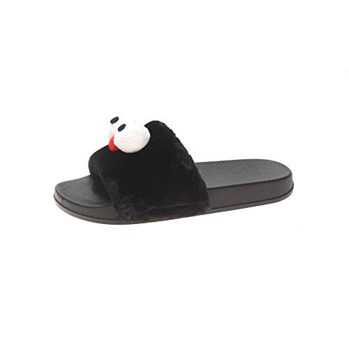B/H Interior Zapatillas Invierno Al Aire Libre,Big Eyes Ugly Plush Cotton Shoes, Cute Cartoon Slippers for Lovers-Black_37