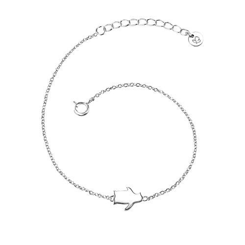 Glanzstücke München Damen-Armband Pinguin Sterling Silber 17 + 3 cm - Silberkettchen mit Anhänger Pinguin Armkettchen Silber Freundschaftsarmbänder