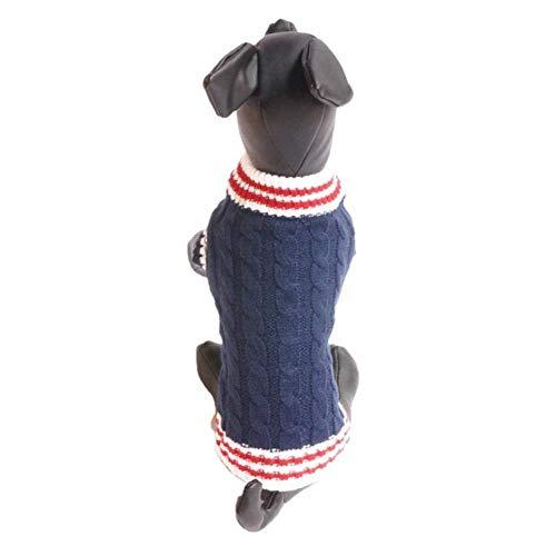 GOUSHENG kraag Comfortabel Blauw Maak U Perfect Puppy Kleding Kleine Honden Cartoon Huisdier Jas Stripe Warm Fleece Hond Outfit Halloween Kostuum Kat Pajama, S, Blauw