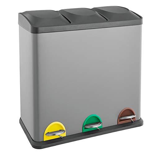 SVITA TC3X15 Treteimer 45 Liter Grau 3X 15L dreifach Abfalleimer 3er-Mülleimer Mülltrennung Küchen-Eimer