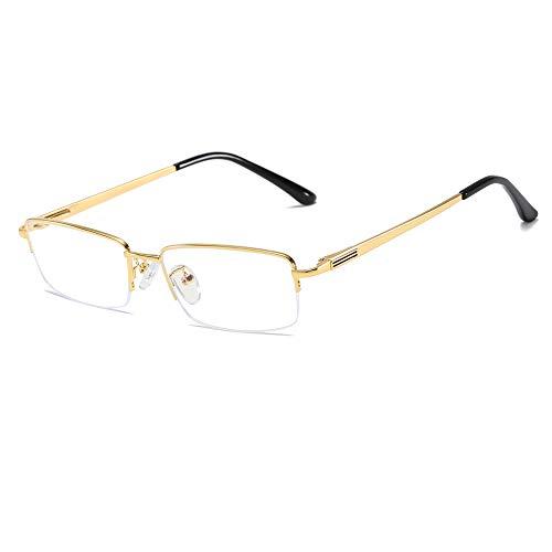 Vocono Halb Randlos Metall-Brillenfassungen Blaues Licht Blocking Brillen Transparentes Linse Geschäft Gläser(Golden)