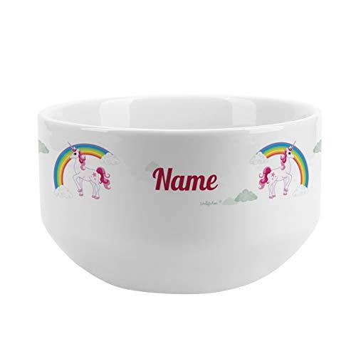 Striefchen® Müslischale für Kinder mit schönem Motiv für Mädchen personalisiert aus Keramik Einhorn