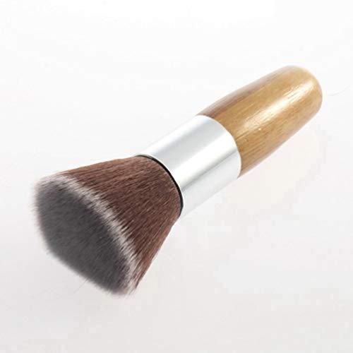 Kinshops Professional Soft Flat Top Buffer Foundation Powder Brush Cosmetic Salon Brush Makeup Basic Brush Facial Makeup Tool , Wood Color