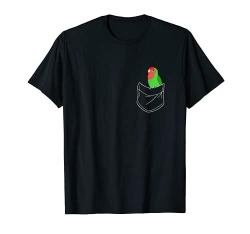 Bolsillo verde Lovebird Lindo Melocotón Cara Lovebird Birb memes Camiseta