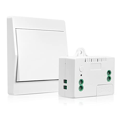 Funkschalter Licht Set GreenSun Funk Lichtschalter Batterielose Wandschalter 200M Outdoor 50M Indoor Funkreichweite für Lampe Eletrogerät 433MHZ 2000W -1