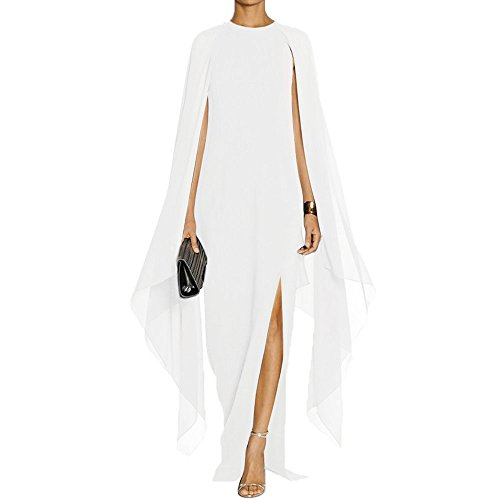 MAYFASEY Women's Flare Sleeve High Split Formal Long Evening Gown Maxi Dresses with Cape White L (Apparel)