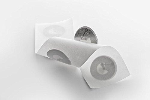 NFC Tag Sticker-Aufkleber 30 mm, 924 Byte, 100% kompatibel, 5 Stück in weiß, optimal für Kontaktdaten/Geräte-/ Profilsteuerung (WLAN, Bluetooth, SMS, Telefonanruf per NFC),NXP NFC Chip