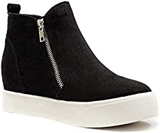 Soda Taylor Hidden Fahsion Wedge Sneaker Shoes Side Zipper,Black,7.5