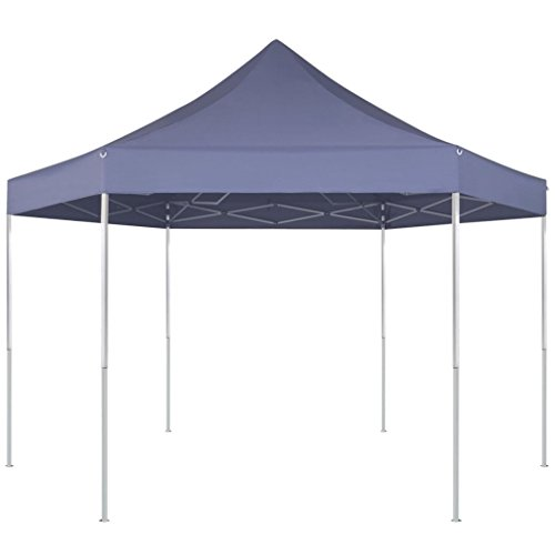 Festnight Partytent pop-up opvouwbaar Waterdichte Canopy Garden Gazebo Marquee Tent voor Outdoor Wedding Garden Party zeshoekig donkerblauw 3,6 x 3,1 m