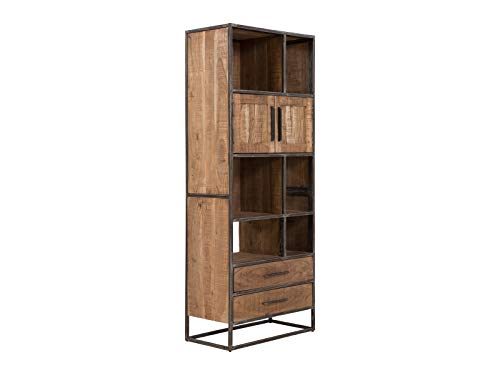 massivum Oklahoma Regal, Holz - Akazie, Natur/schwarz, BxHxT: 75x190x40 cm