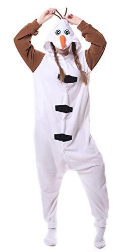 FunnyCos Unisex Tier Onesie Erwachsene Halloween Pyjama Cosplay Kostüm mit Kapuze Loungewear,Olaf M