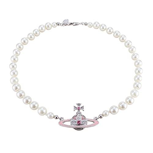 BNMY Collana di Perle di Saturno Collana di Diamanti Collane di Perline Strass di Cristallo per Gioielli da Donna, Pendente con Colletto di Perle Finte Una Collana da Uomo con Ciondolo FO,Rose Gold