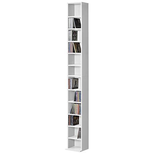 [en.casa] Estante para CDs Soporte para DVDs 175 x 20 x 20 cm Librería con 12 compartimientos Blanco