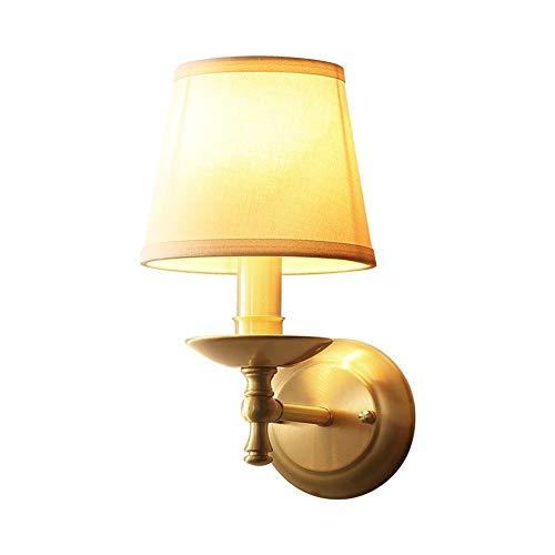 Aplique de interior Lámpara de pared europea accesorios de cobre E14 Soporte con tambor de tambor Aisle de latón cálido Montaje en la cama Montaje de pared 11. 8 pulgadas Decoración de interiores Luz