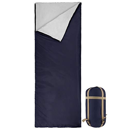 Bessport Schlafsack Sommer Ultraleicht | 3 Jahreszeiten Deckenschlafsack nur 800g für Camping, Erwachsene, Kinder-Warm Baumwolle Füllung, Wasserdichter (Blau)