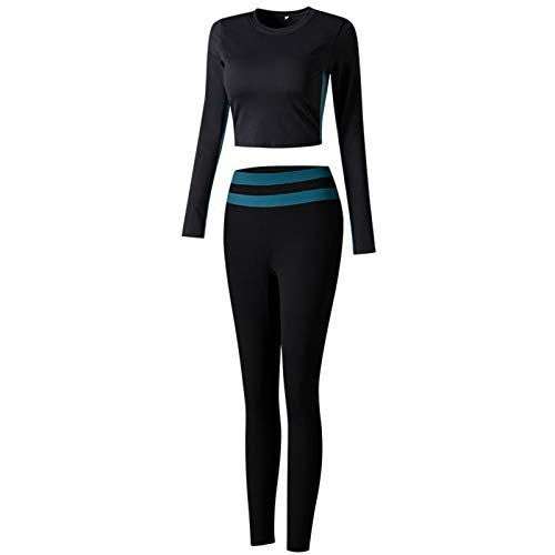 PANGOIE Women's Workout Outfit 2 Pieces Seamless High Waist Yoga Leggings with Long Sleeve Crop Top Gym Clothes Set