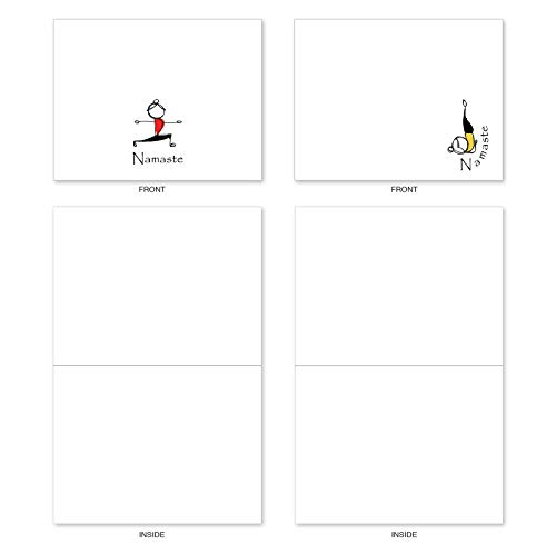 The Best Card Company - 10 Blank Yoga Note Cards Bulk (4 x 5.12 Inch) - Assorted Stick Figure and Animals Cards - Namaste Notes M3963 Photo #2