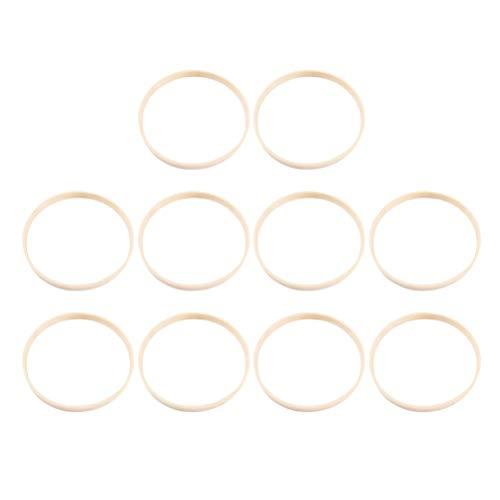 VORCOOL - Lote de 10 aros de madera, círculo de bambú, bordado de punto de cruz, anillo de marco, 30 cm, corona de aro floral para bricolaje, artesanía, atrapasueños, macramé