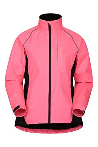 Mountain Warehouse Adrenaline Womens Waterproof Jacket - Breathable Ladies Coat, Taped Seams, Reflective Trims Rain Jacket - for Cycling, Running Bright Pink 6