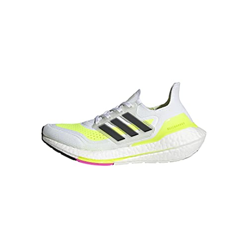 adidas Ultraboost 21 Running Shoe, White/Black/Solar Yellow, 6.5 US Unisex Big Kid