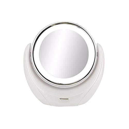 ZRSA Miroir de Maquillage/Miroir cosmétique, pivotant à 360°- Double Face , Normal et grossissement x5 Miroir sur Pied, Approprié Au Maquillage De Chambre à Coucher, Transportant des Voyages