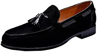 HiREL'S Mens Black Suede Leather Tassel Loafers & Mocassions