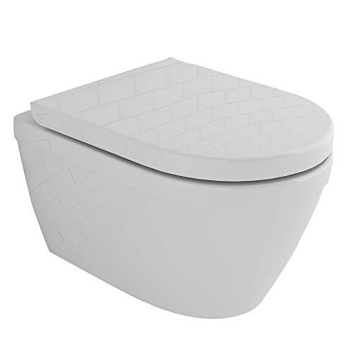 Alpenberger Tiefspül WC Zeitloses Design mit Antibakterieller Oberfläche I Spülrandlose Toilette wandhängend I WC-Sitz mit Absenkautomatik Badezimmer