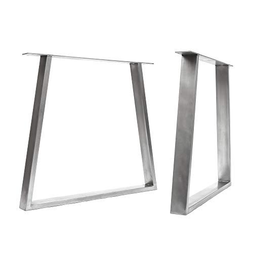 [HLC] 2 x patas de mesa industriales de trapecio: acero acondicionado de superficie, soldadura TIG con tornillos GRATUITOS, guía de construcción y protectores de suelo [Mesa Grande, Acero]