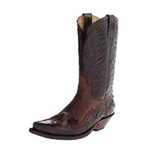 SJDFK Botas de Tubo Alto de tacón Medio Occidental para Mujer Botas de Vaquero de Caballero de Gran tamaño Bordadas,Brown-42
