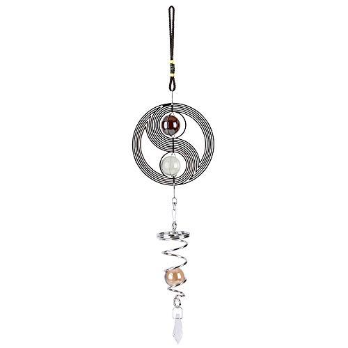 Gobesty Edelstahl Windspiel, 3D Windspiel Orbit Yinyang mit Kugelspiral, durchgefärbte Glaskugeln Ø 30 mm zum drinnen und draußen