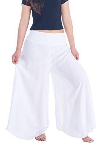 Lannaclothesdesign Palazzo Pants for Women Wide Leg Boho Harem Yoga Pants S M L XL Sizes (M, Solid White)