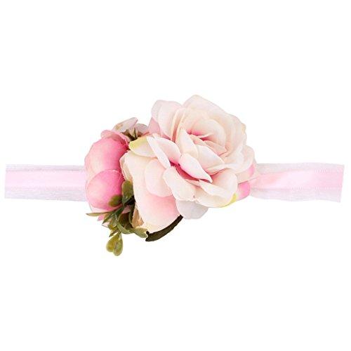 SM SunniMix Bouquet A Braccialetto con Motivo Floreale E Nastro Bouquet da Polso per Sposa Damigella per Matrimonio o Ballo - Rosa