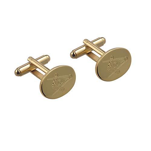 British Jewellery Workshops Plaqué Or Dur 12x17mm Ovale gravé Main maçonnique avec Boutons de Manchette pivotantes G