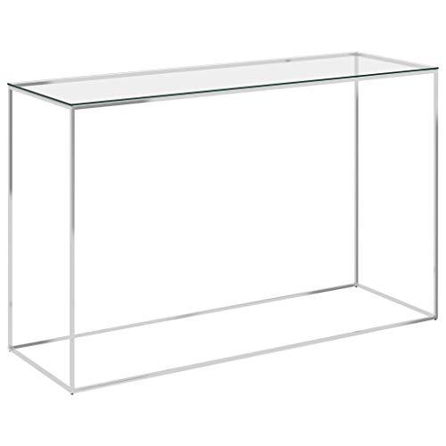 vidaXL Mesa auxiliar, consola para el sofá, mesa de salón, mesa de pasillo, mesa de teléfono, mesa de cristal, color plateado, 120 x 40 x 78 cm, acero inoxidable y cristal
