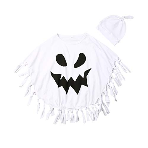 Muasaaluxi Toddler Kid Baby Girls Boys Halloween Costumes White Ghost Cloak Tassel Cape Cosplay with Hat Outfits 1-5Y (4-5Y, White)