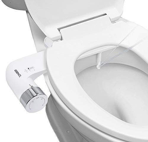Greenco Slim Bidet Attachment Hot and Cold Water Spray Non-Electric Mechanical Bidet Toilet Seat Attachment, Stainless Steel Flex Hose.