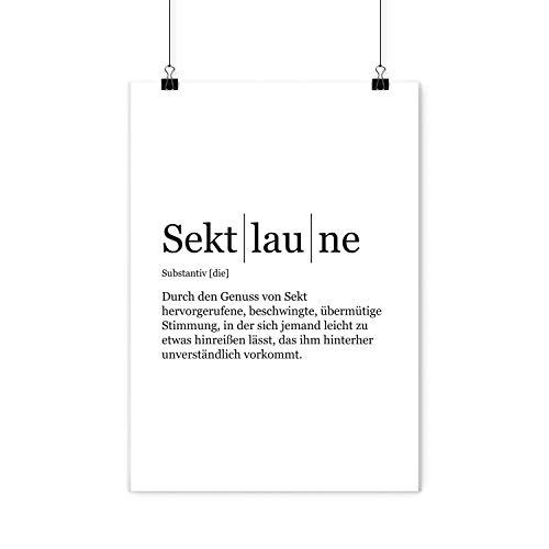 VISUAL STATEMENTS® Poster mit Spruch / 10 Verschiedene Motive & Sprüche zur Auswahl / 250g hochwertiger Qualitätsdruck / 42 x 59,4 cm / A2 Format (Sektlaune)