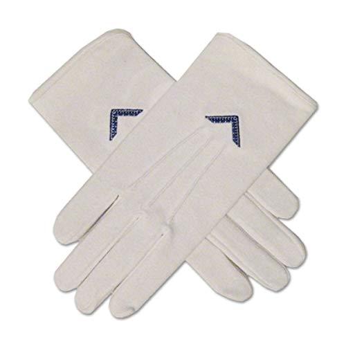 Worshipful Master's Square Masonic Embroidered Cotton Gloves - [White]