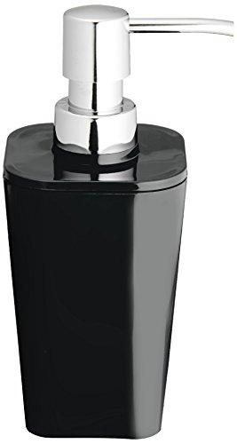 Wenko Dosificador Jabón 0.33 L, Poliestireno, Negro, 7.3x8.8x17.4 cm
