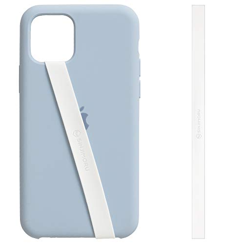 Sinjimoru Silicone Stretching Strap as Phone Grip Holder, Slim Grip Tape for iPhone Case, Secure Phone Strap as Cell Phone Holder. Sinji Loop, White
