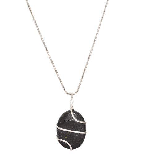 Blessfull Healing Reiki Spiritual Energy Gemstone Locket Jewellery Oval Shape Nuummite Stone Wire Wrap Necklace Pendant