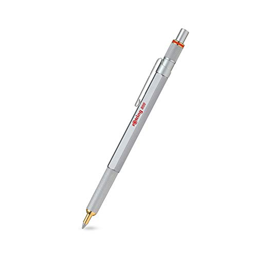 rOtring 800 Kugelschreiber, mittlere Spitze, blaue Tinte, silberfarbener Schaft, nachfüllbar
