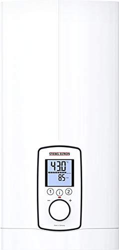 Stiebel Eltron 202656 DHE 18/21/24 - Calentador de agua regulado electronicamente, modo ECO, pantalla multifuncion retroiluminada, 2 botones de memoria, temperatura deseada, 400 V, color blanco