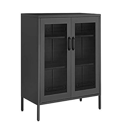 SONGMICS Metal Storage Cabinet with Mesh Doors, Multipurpose Storage Rack, 3-Tier Office Cabinet, Max. Load Capacity 55 lb per Tier, Black UOMC002B01 from SONGMICS