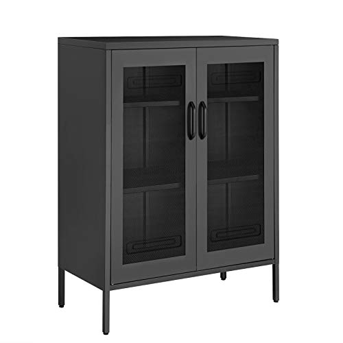 SONGMICS Metal Storage Cabinet with Mesh Doors, Multipurpose Storage Rack, 3-Tier Office Cabinet, Max. Load Capacity 55 lb per Tier, Black UOMC002B01