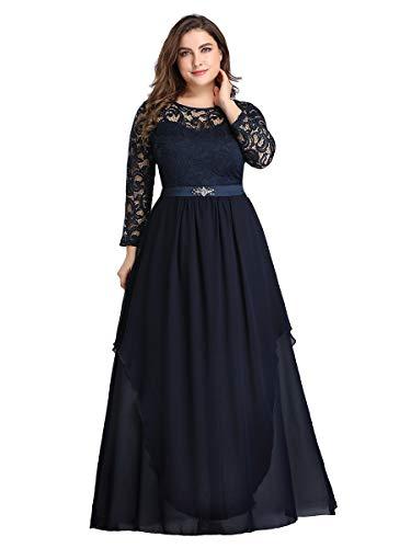 Ever-Pretty Encaje Vestidos de Fiesta Manga Larga Mujer Largo A-línea Elegantes Talla Grande Azul Marino 56