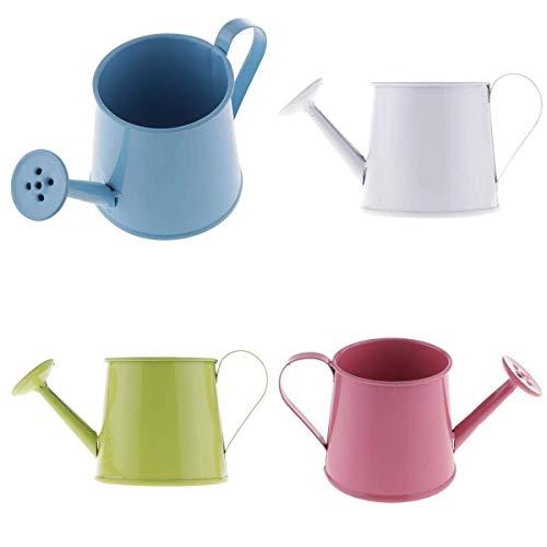 JIAMING 4pcs Style Pastoral coloré Tin Pot de Fleurs Mini Bonsai Arrosoir Pot Fournitures Jardin Props Photo