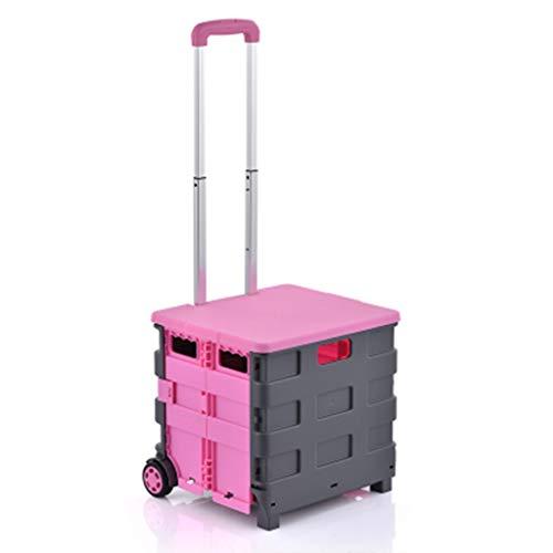 Handwagen Wagen Supermarkt Wanderwagen Home Pink Einkaufswagen Faltwagen Home Basket Kann Älteren Wagen 45L Sitzen (Color : A, Size : 40 * 10 * 43cm)